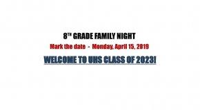 2019 8th grade family night