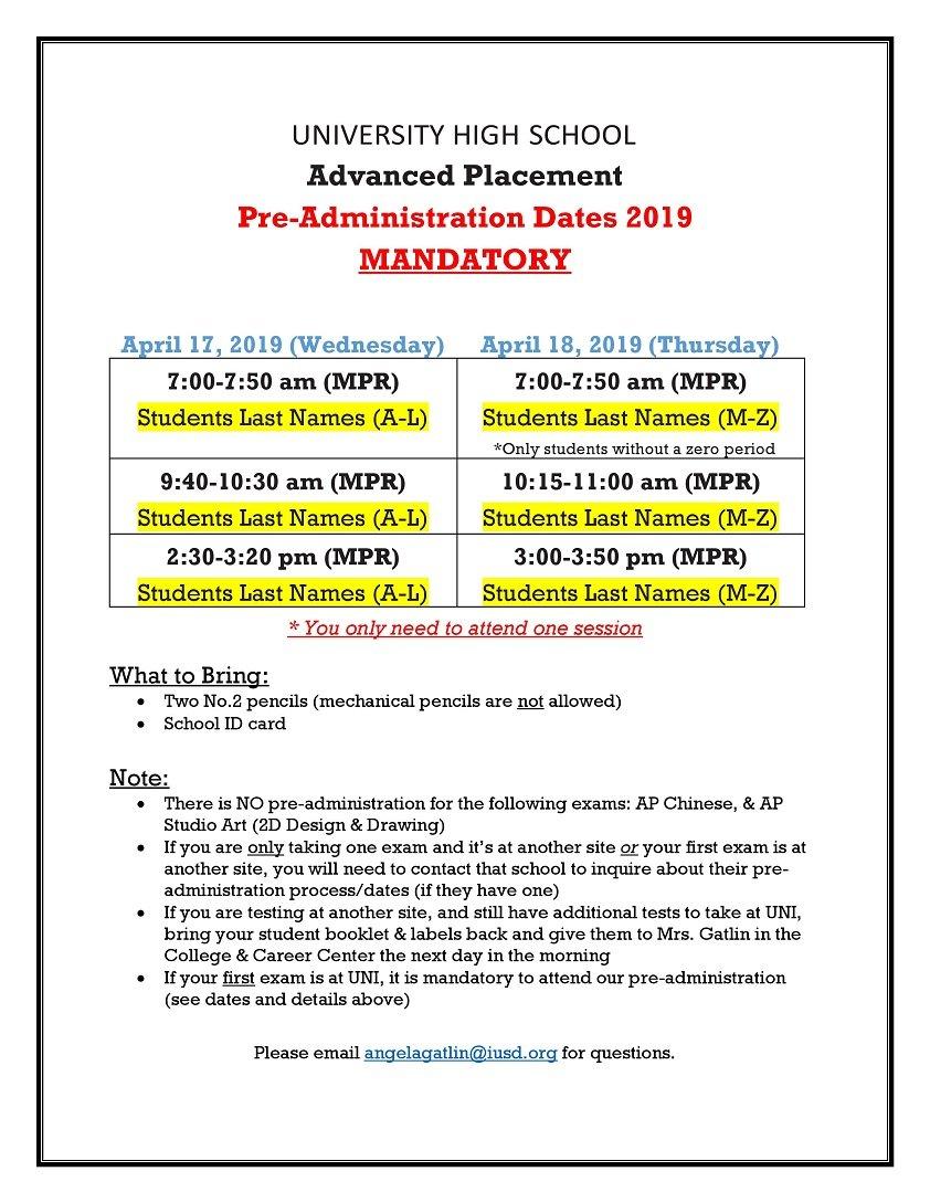 2019 AP Pre-Administration Info